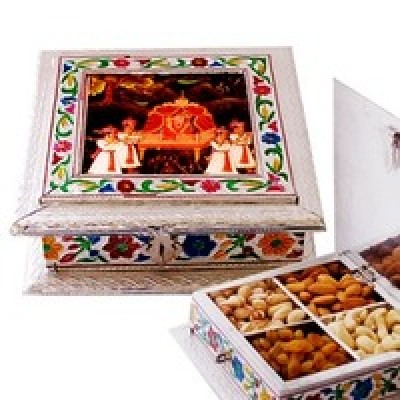 Dry fruit box with traditional meenakari and painting