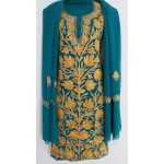 Kashmiri Georjette Suit with Dupatta (GREEN COLOR)
