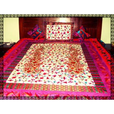 Kashmiri Creole Embroidery Velvet Bed Cover