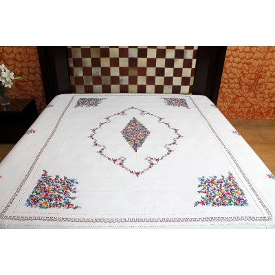 Kashmiri Aari Work Bed Sheet (MHDB09)