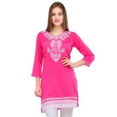 Kashmiri Kadai Pink Kurti