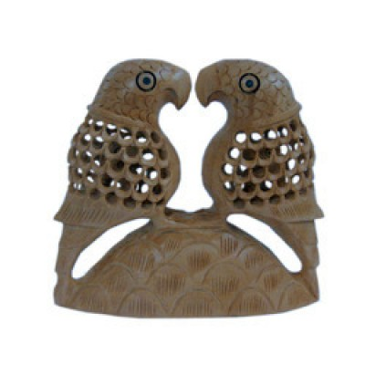Fine Carved Wood Parrot Pair Handicraft Gift