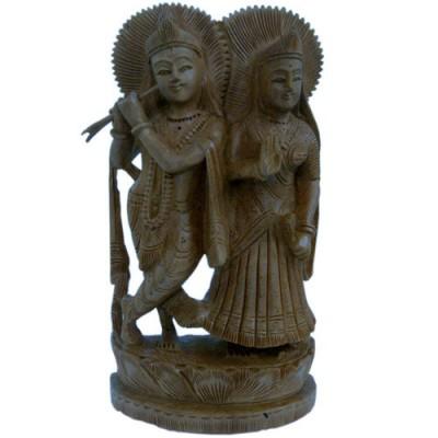 Ethnic Lord Radha Krishan Idol Wood Handicraft