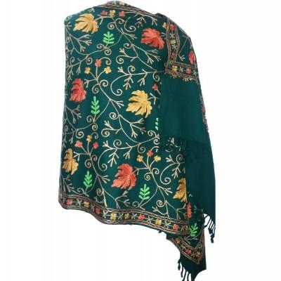 Kashmiri Kadai Stole Shawl (Green Colour)