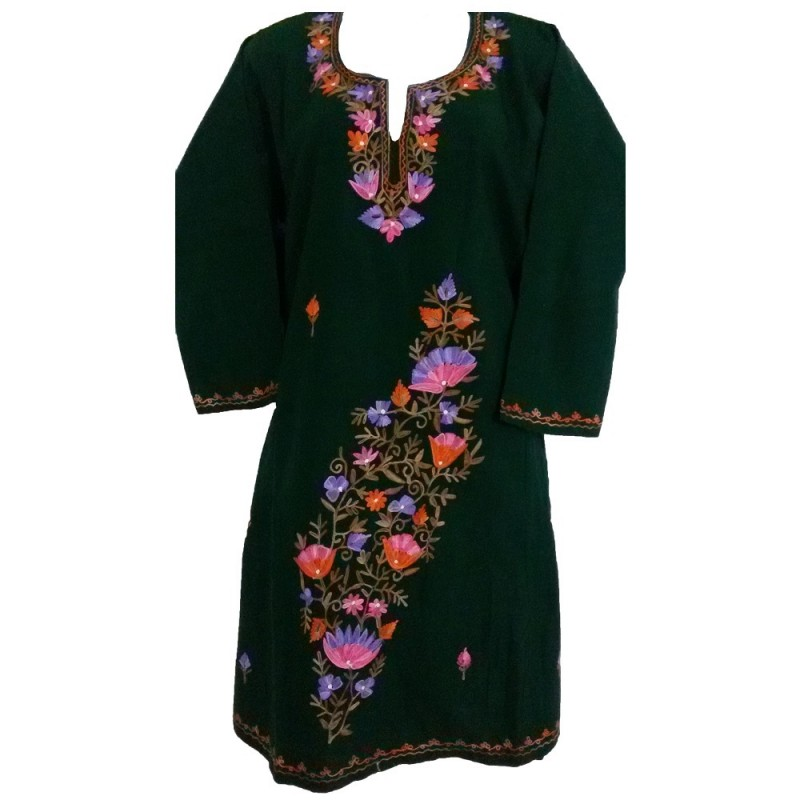 Phiran with kashmiri embroidery green color