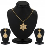 Gold Plated Lord Lakshmi Pendant Set