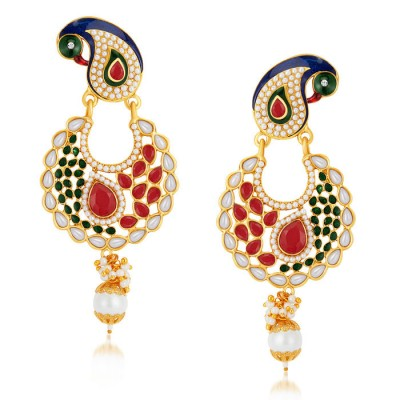 Elegant Peacock Gold Plated Australian Diamond Earrings