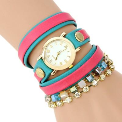 Bracelet Watch (Red and Dark Green strap)