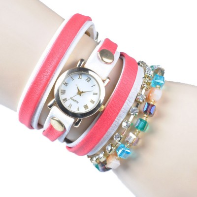 Bracelet Watch (Red and white strap)