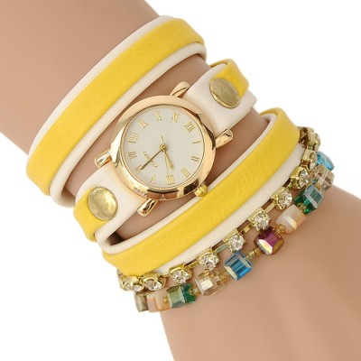 Bracelet Watch (Yellow and white strap)