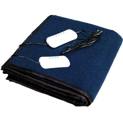 Electric Heating Blanket Double Bed (Navy Blue Fleece)