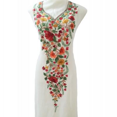 Kashmiri Embroidery Georjette Kurti (Off White)