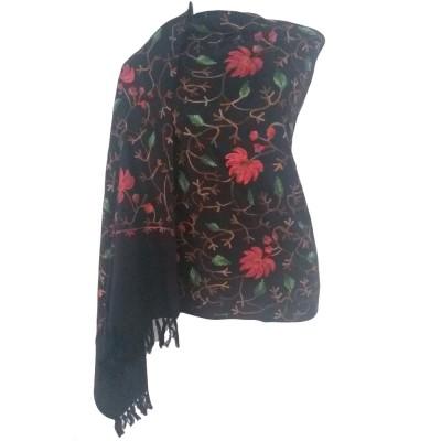 Kashmiri Kadai Stole Shawl (Black Color)