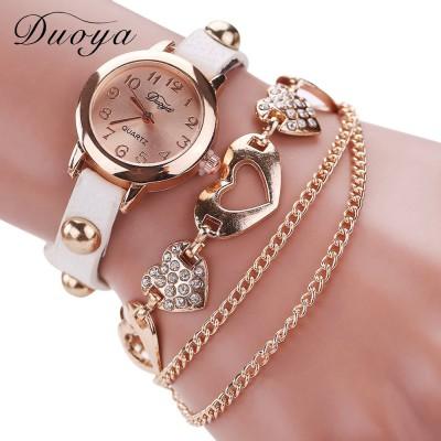 Heart Shape Bracelet watch (White Strap)