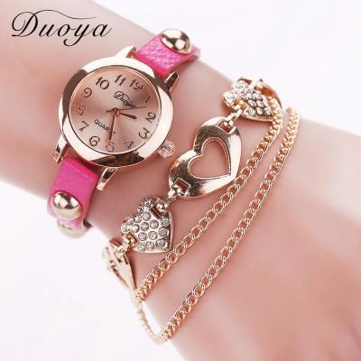 Heart Shape Bracelet watch (Magenta Strap)